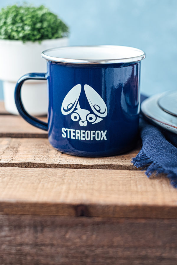 enamel coffee cup stereofox dark blue photo wood green plant